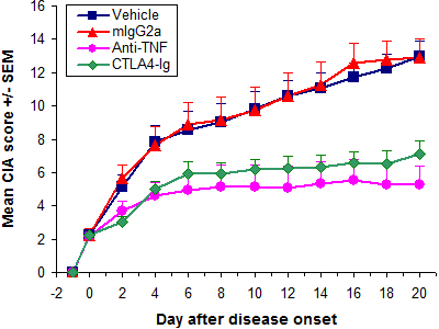 CIA - Therapeutic treatment with anti-TNF and CTLA4-Ie